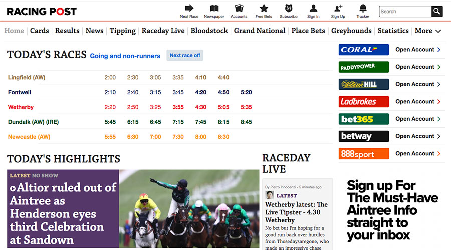Racing post racecards betting odds sports betting lines mlb