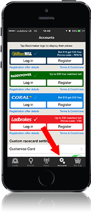 Logging In to your bookmaker account using the app – Racing Post